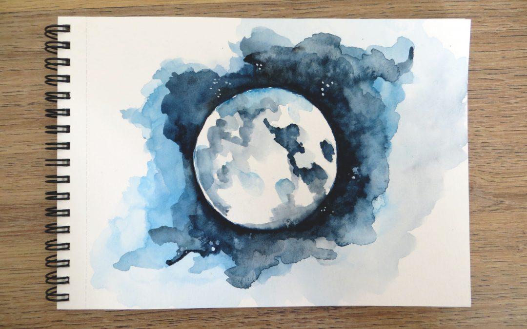 Tutoriel spécial fête de la Lune : réaliser une lune à l'aquarelle