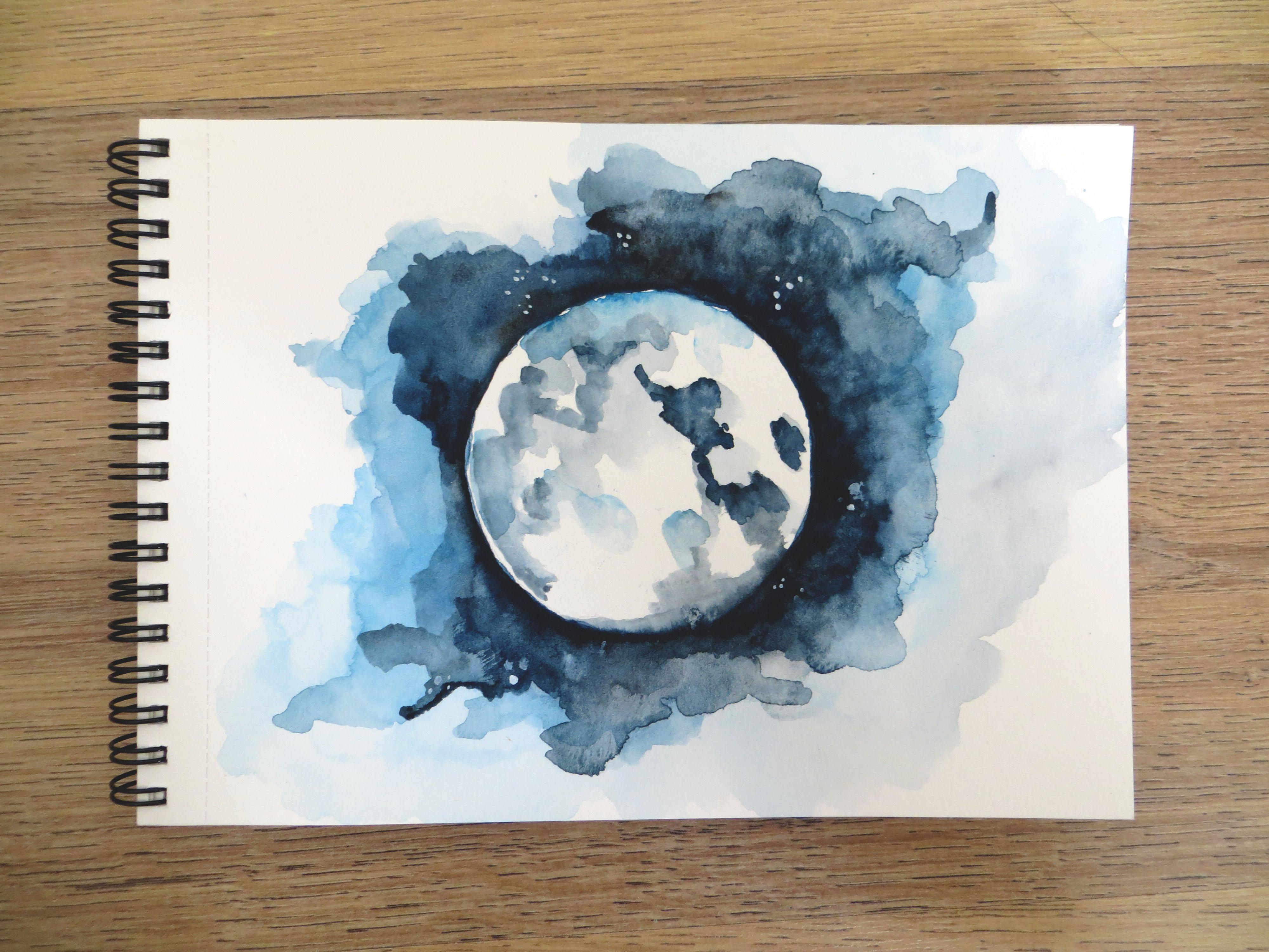 Tutoriel Special Fete De La Lune Realiser Une Lune A L Aquarelle Aline Imagine Aquarelle