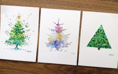 Cartes de vœux à l'aquarelle pour Noël – Thème sapin